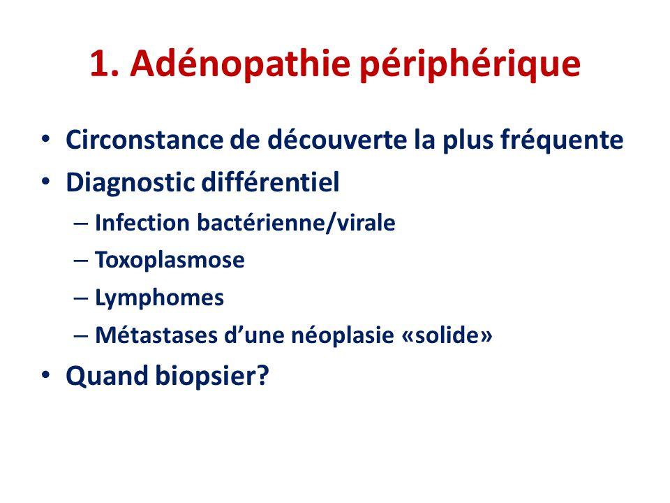 1. Adénopathie périphérique • Circonstance de découverte la plus fréquente • Diagnostic différentiel – Infection bactérienne/virale – Toxoplasmose – L