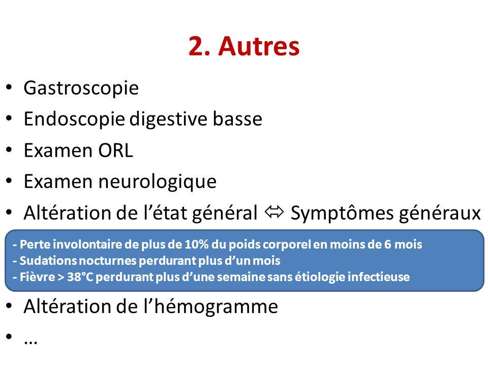 • Gastroscopie • Endoscopie digestive basse • Examen ORL • Examen neurologique • Altération de l'état général  Symptômes généraux • Altération de l'h