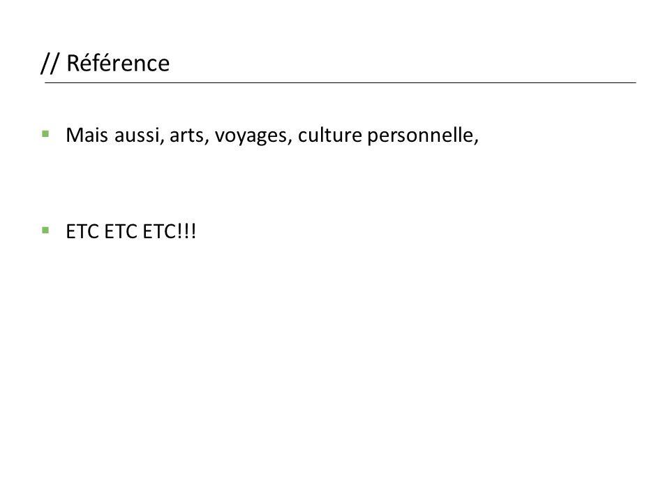 // Référence  Mais aussi, arts, voyages, culture personnelle,  ETC ETC ETC!!!