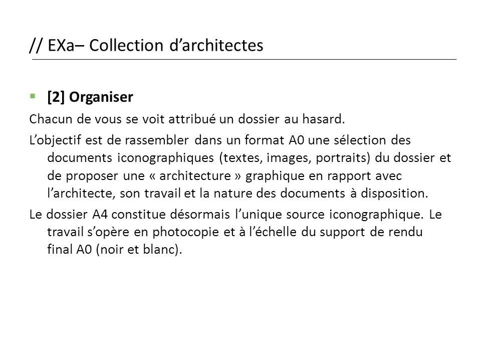 // EXa– Collection d'architectes  [2] Organiser Chacun de vous se voit attribué un dossier au hasard. L'objectif est de rassembler dans un format A0