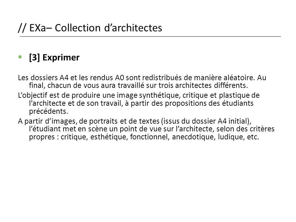 // EXa– Collection d'architectes  [3] Exprimer Les dossiers A4 et les rendus A0 sont redistribués de manière aléatoire. Au final, chacun de vous aura