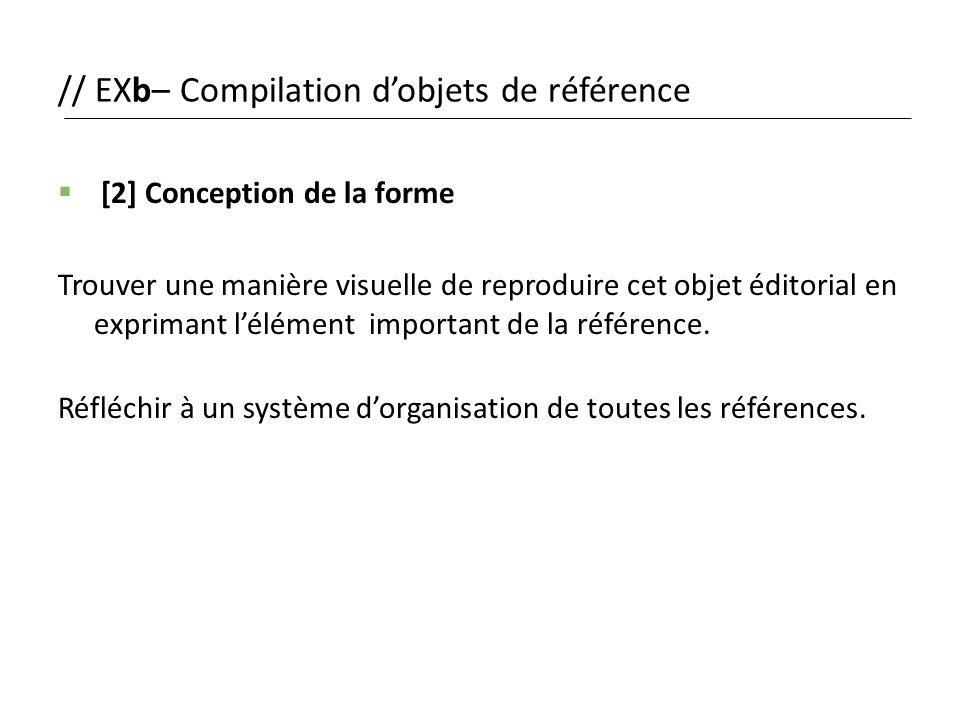 // EXb– Compilation d'objets de référence  [2] Conception de la forme Trouver une manière visuelle de reproduire cet objet éditorial en exprimant l'é