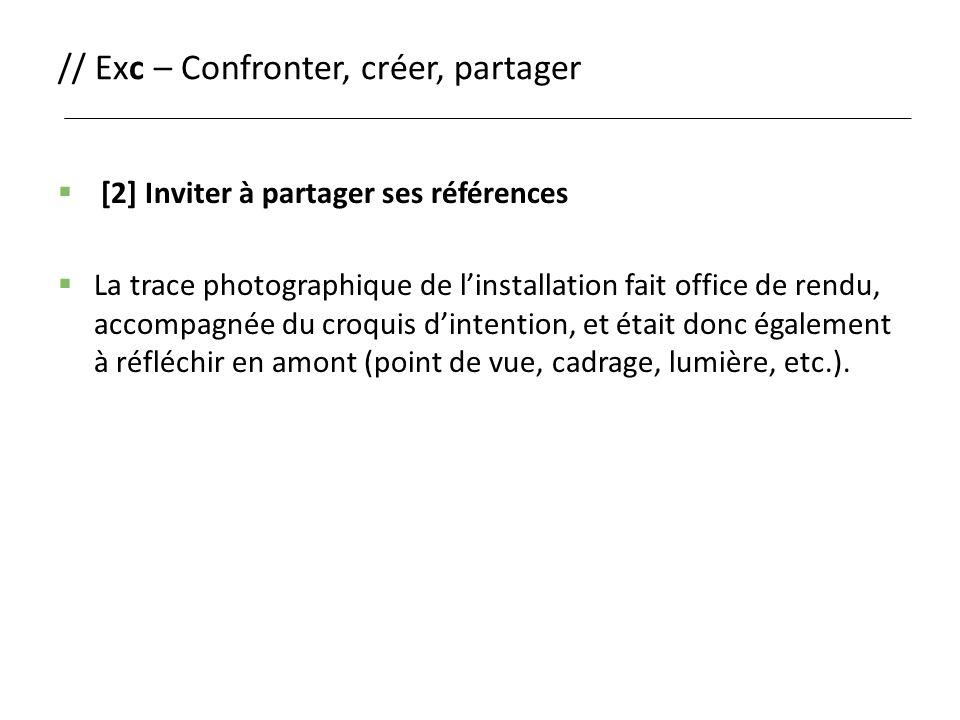 // Exc – Confronter, créer, partager  [2] Inviter à partager ses références  La trace photographique de l'installation fait office de rendu, accompa
