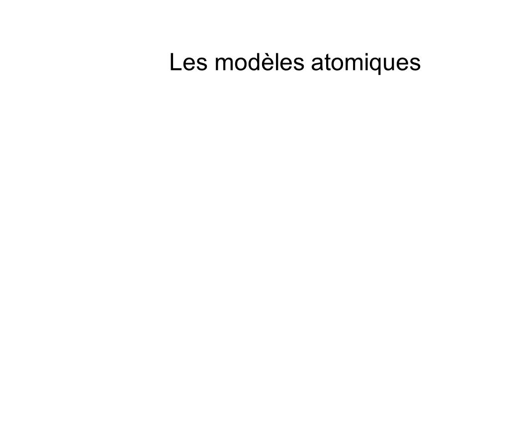 Les modèles atomiques