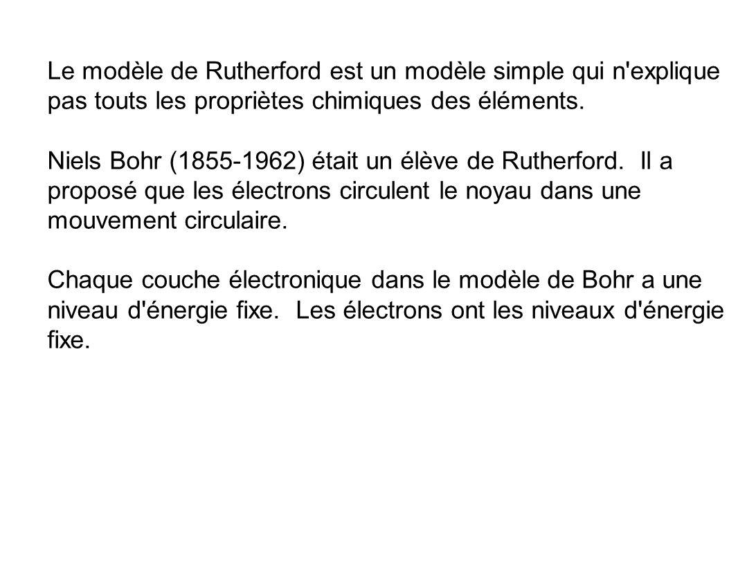 Le modèle de Rutherford est un modèle simple qui n'explique pas touts les propriètes chimiques des éléments. Niels Bohr (1855-1962) était un élève de