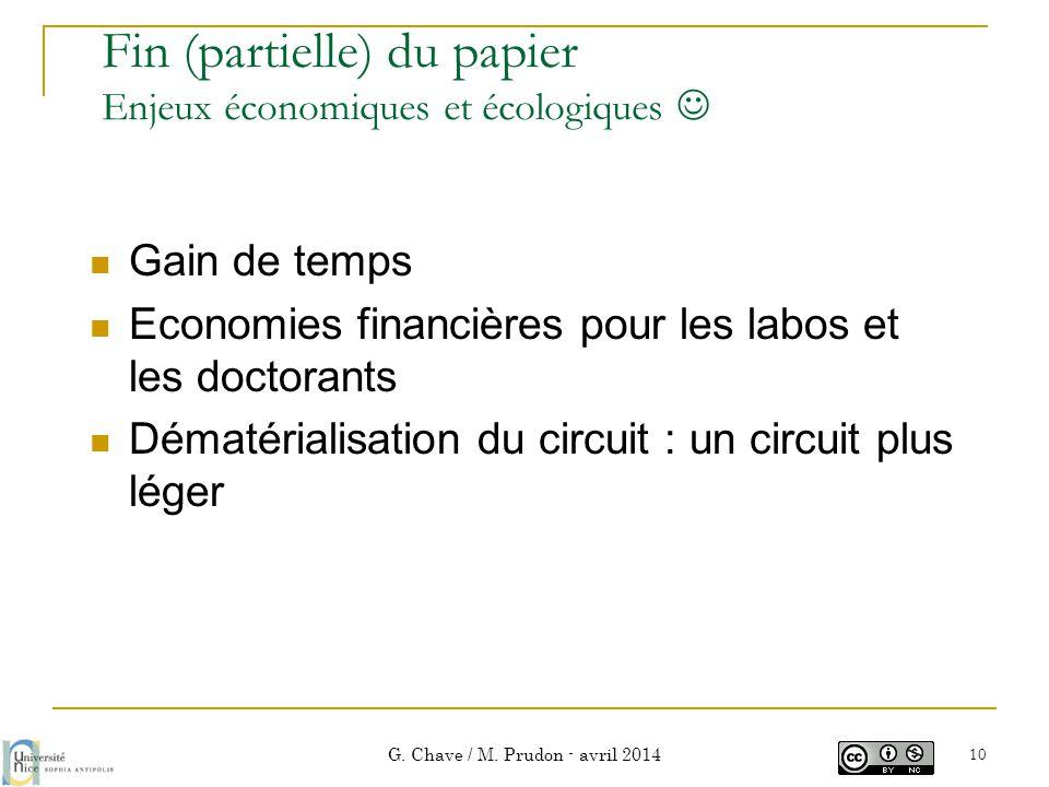 Fin (partielle) du papier Enjeux économiques et écologiques   Gain de temps  Economies financières pour les labos et les doctorants  Dématérialisa