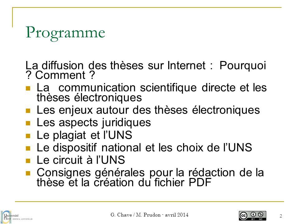 Les thèses électroniques aujourd'hui G. Chave / M. Prudon - avril 2014 3