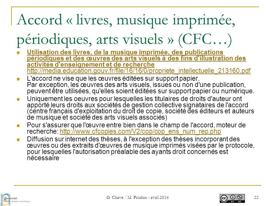 Accord « livres, musique imprimée, périodiques, arts visuels » (CFC…)  Utilisation des livres, de la musique imprimée, des publications périodiques e