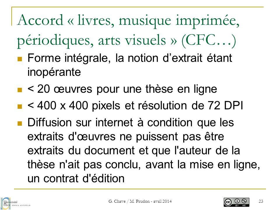 Accord « livres, musique imprimée, périodiques, arts visuels » (CFC…)  Forme intégrale, la notion d'extrait étant inopérante  < 20 œuvres pour une t