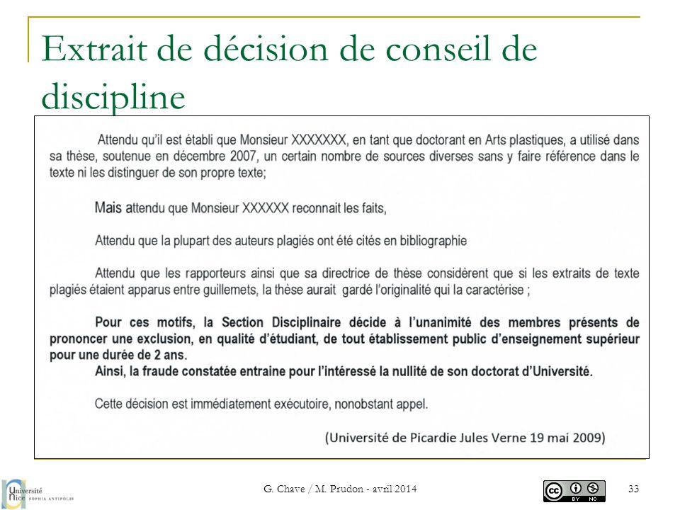 Extrait de décision de conseil de discipline G. Chave / M. Prudon - avril 2014 33
