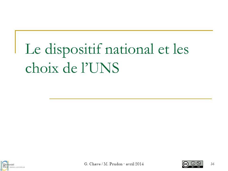 Le dispositif national et les choix de l'UNS G. Chave / M. Prudon - avril 2014 36