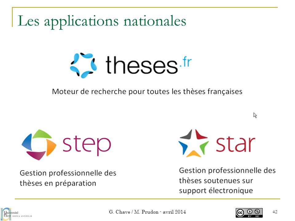 Les applications nationales G. Chave / M. Prudon - avril 2014 42