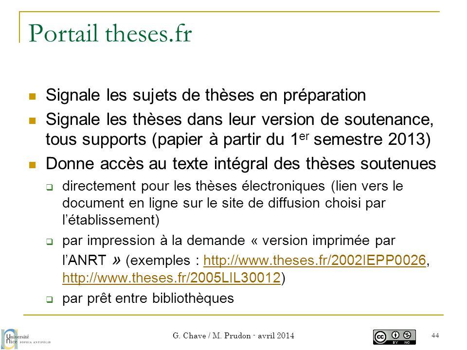 Portail theses.fr  Signale les sujets de thèses en préparation  Signale les thèses dans leur version de soutenance, tous supports (papier à partir d