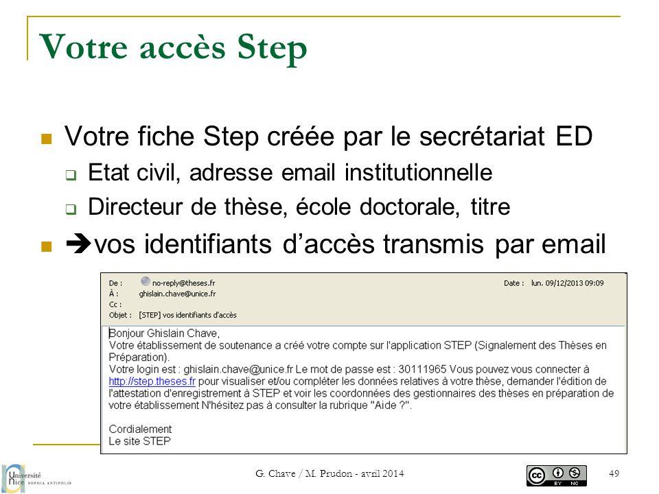 Votre accès Step  Votre fiche Step créée par le secrétariat ED  Etat civil, adresse email institutionnelle  Directeur de thèse, école doctorale, ti