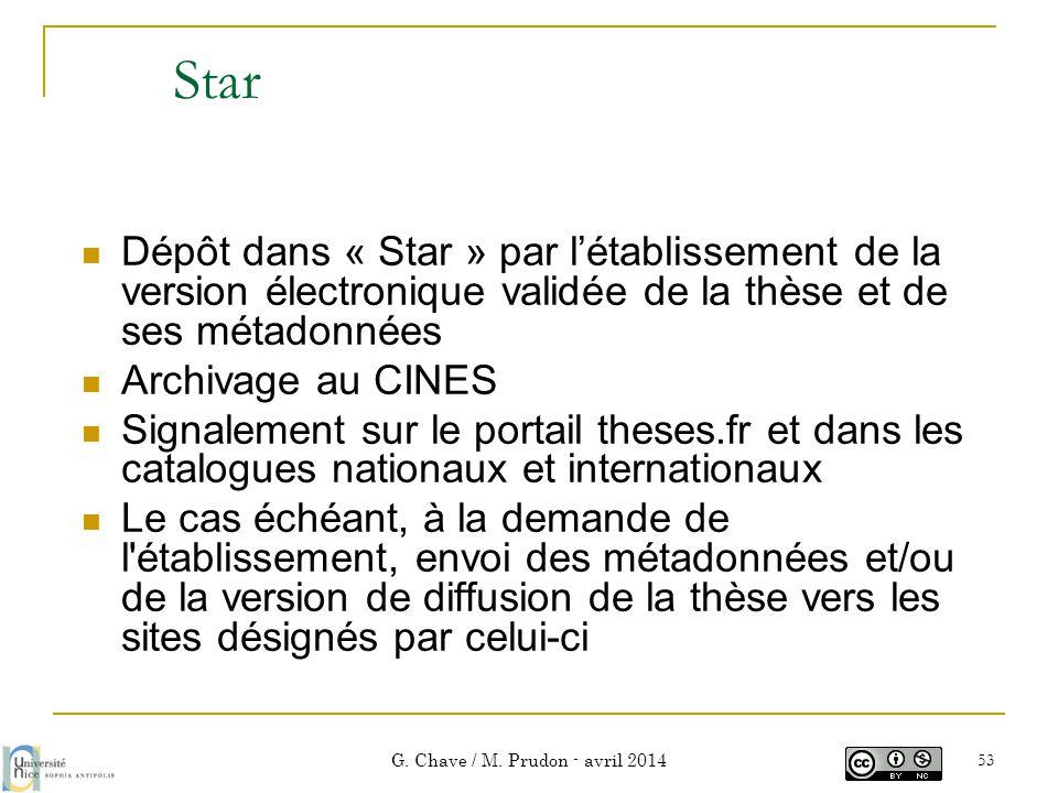 Star  Dépôt dans « Star » par l'établissement de la version électronique validée de la thèse et de ses métadonnées  Archivage au CINES  Signalement