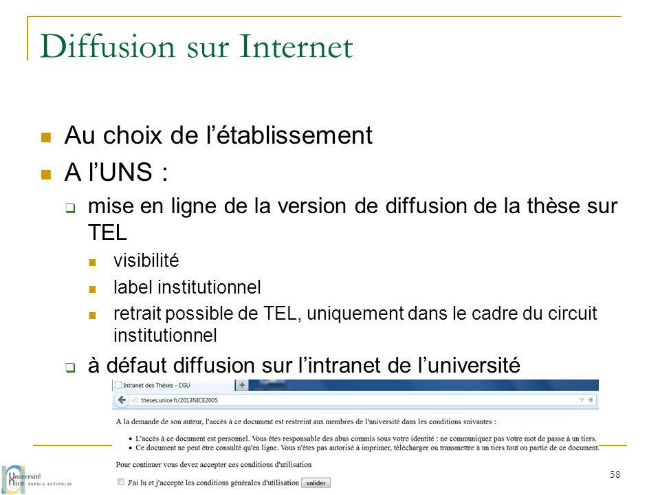 Diffusion sur Internet  Au choix de l'établissement  A l'UNS :  mise en ligne de la version de diffusion de la thèse sur TEL  visibilité  label i