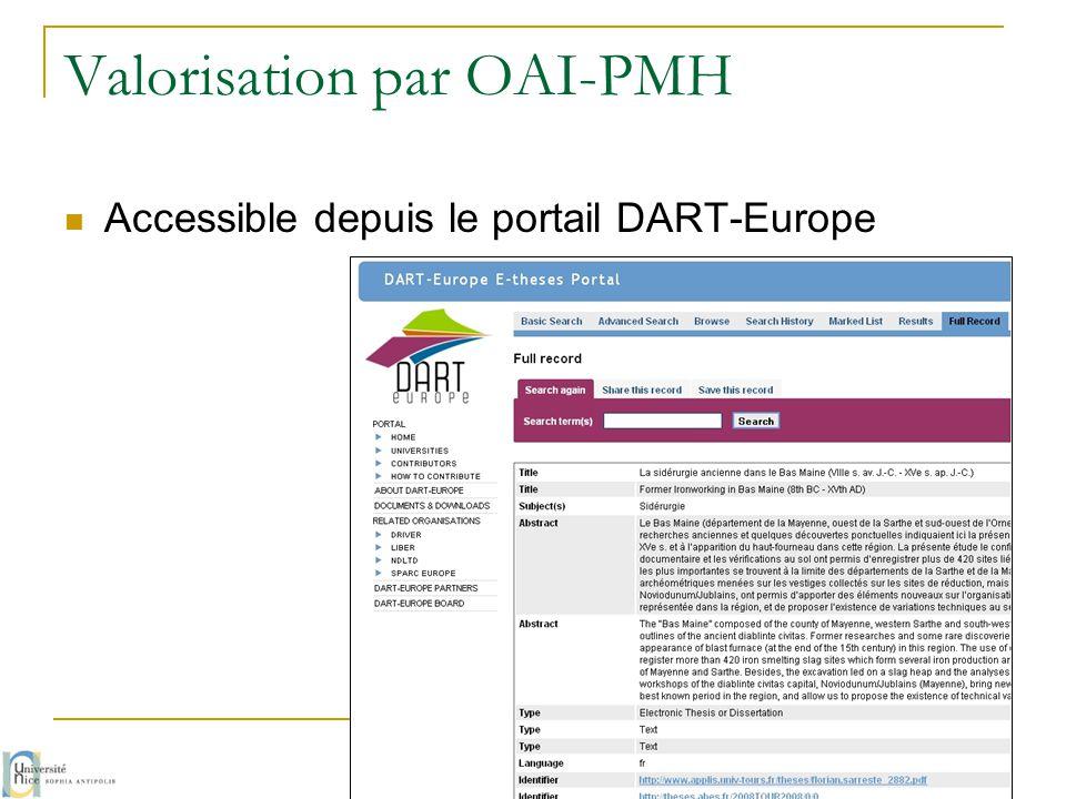 Valorisation par OAI-PMH  Accessible depuis le portail DART-Europe G. Chave / M. Prudon - avril 2014 60