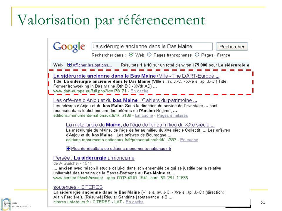 Valorisation par référencement G. Chave / M. Prudon - avril 2014 61
