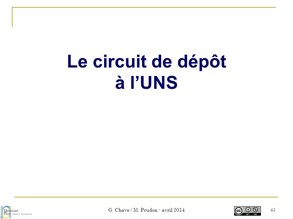 G. Chave / M. Prudon - avril 2014 63 Le circuit de dépôt à l'UNS