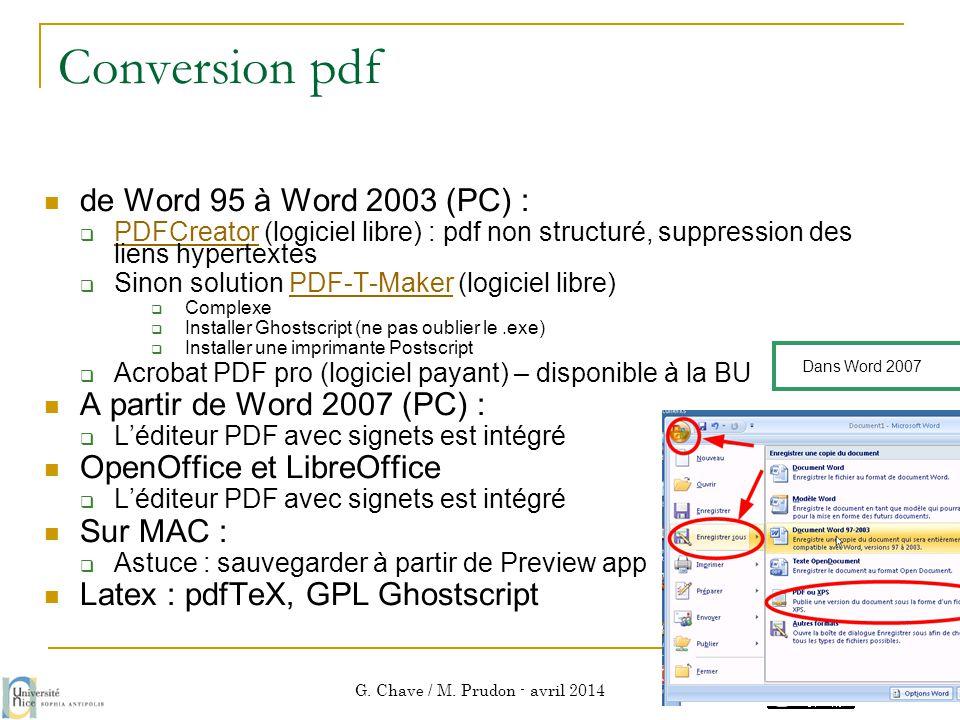 Conversion pdf  de Word 95 à Word 2003 (PC) :  PDFCreator (logiciel libre) : pdf non structuré, suppression des liens hypertextes PDFCreator  Sinon
