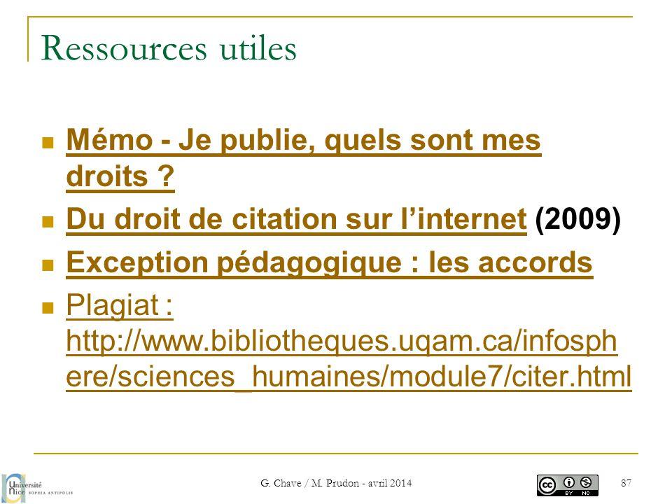 Ressources utiles  Mémo - Je publie, quels sont mes droits ? Mémo - Je publie, quels sont mes droits ?  Du droit de citation sur l'internet (2009) D