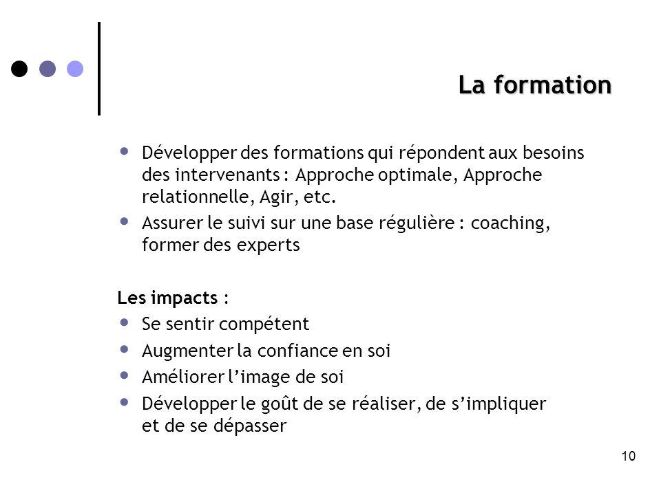 La formation • Développer des formations qui répondent aux besoins des intervenants : Approche optimale, Approche relationnelle, Agir, etc.