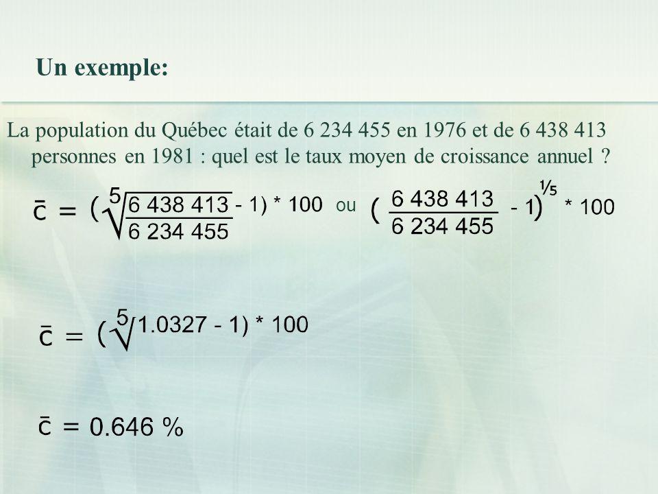 Un exemple: La population du Québec était de 6 234 455 en 1976 et de 6 438 413 personnes en 1981 : quel est le taux moyen de croissance annuel .