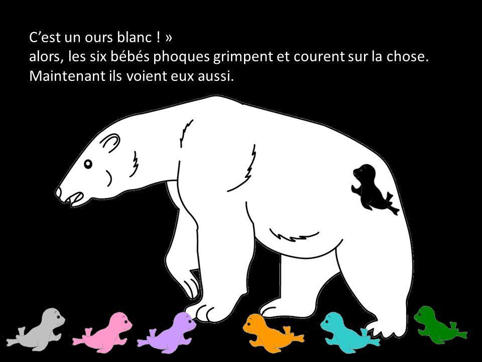 C'est un ours blanc . » alors, les six bébés phoques grimpent et courent sur la chose.