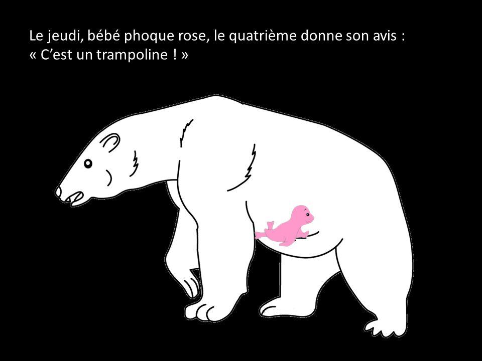Le jeudi, bébé phoque rose, le quatrième donne son avis : « C'est un trampoline ! »
