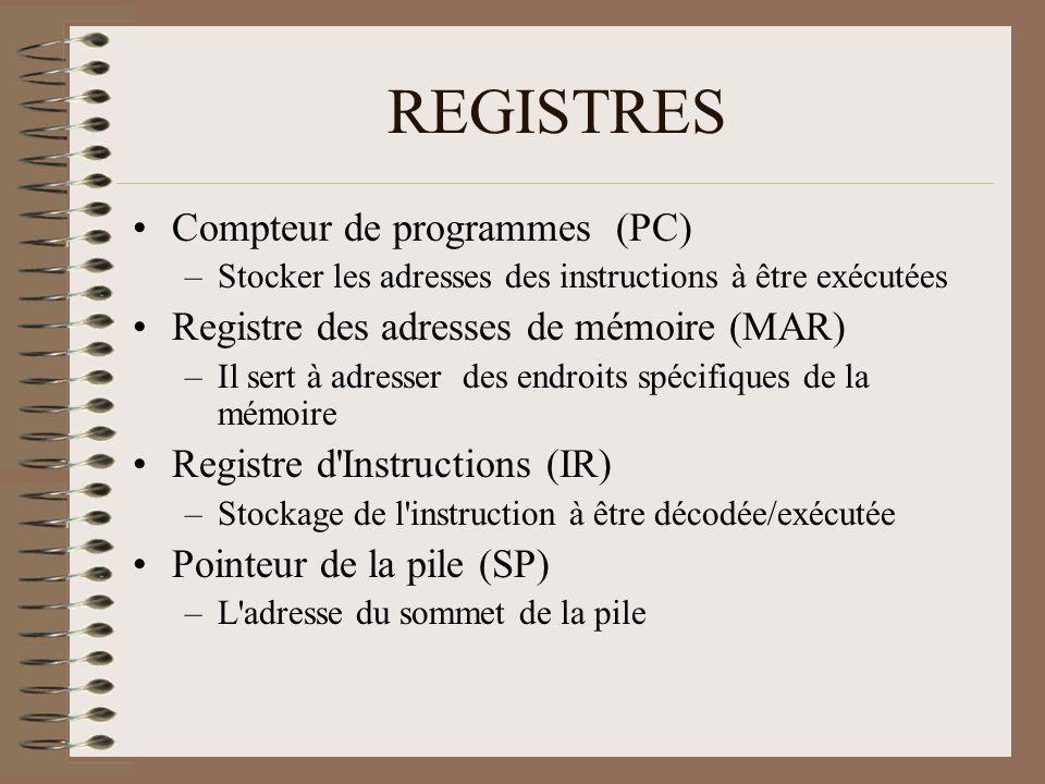REGISTRES •Compteur de programmes (PC) –Stocker les adresses des instructions à être exécutées •Registre des adresses de mémoire (MAR) –Il sert à adresser des endroits spécifiques de la mémoire •Registre d Instructions (IR) –Stockage de l instruction à être décodée/exécutée •Pointeur de la pile (SP) –L adresse du sommet de la pile