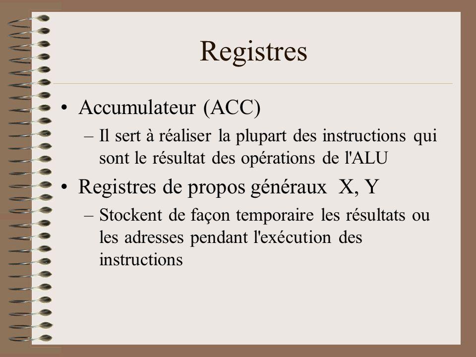 Registres •Accumulateur (ACC) –Il sert à réaliser la plupart des instructions qui sont le résultat des opérations de l ALU •Registres de propos généraux X, Y –Stockent de façon temporaire les résultats ou les adresses pendant l exécution des instructions