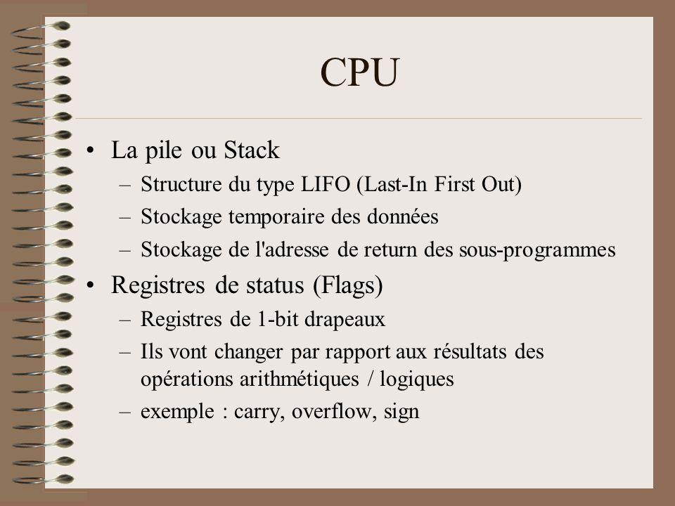 CPU •La pile ou Stack –Structure du type LIFO (Last-In First Out) –Stockage temporaire des données –Stockage de l'adresse de return des sous-programme