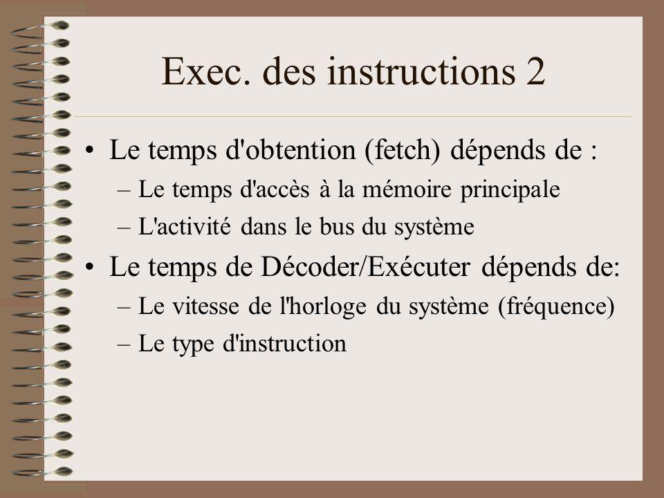 Exec. des instructions 2 •Le temps d'obtention (fetch) dépends de : –Le temps d'accès à la mémoire principale –L'activité dans le bus du système •Le t