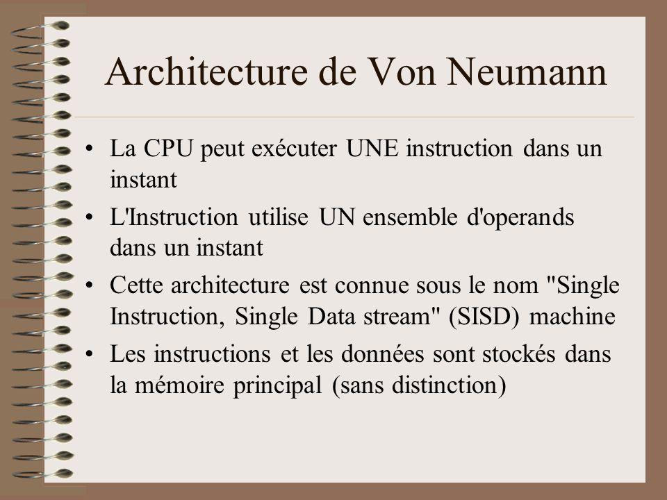Architecture de Von Neumann •La CPU peut exécuter UNE instruction dans un instant •L Instruction utilise UN ensemble d operands dans un instant •Cette architecture est connue sous le nom Single Instruction, Single Data stream (SISD) machine •Les instructions et les données sont stockés dans la mémoire principal (sans distinction)