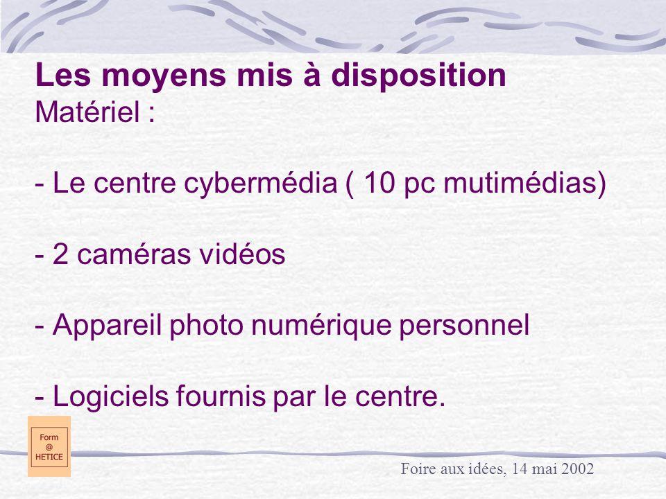 Les moyens mis à disposition Matériel : - Le centre cybermédia ( 10 pc mutimédias) - 2 caméras vidéos - Appareil photo numérique personnel - Logiciels fournis par le centre.