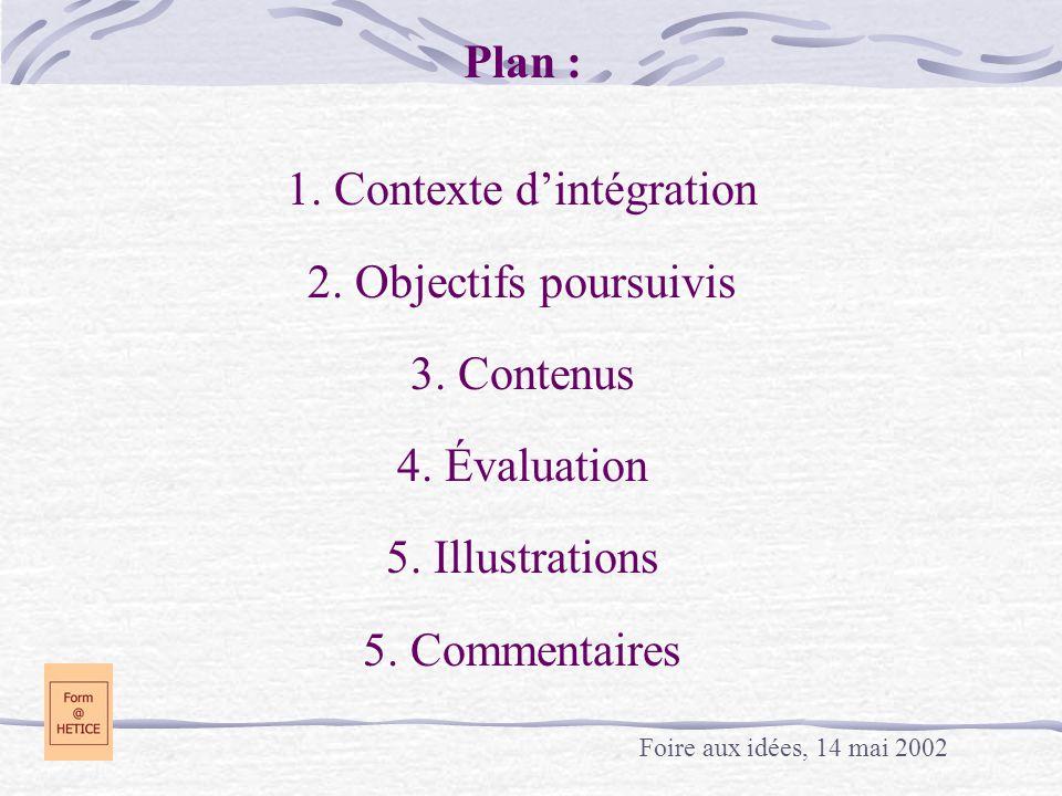 Plan : 1.Contexte d'intégration 2. Objectifs poursuivis 3.