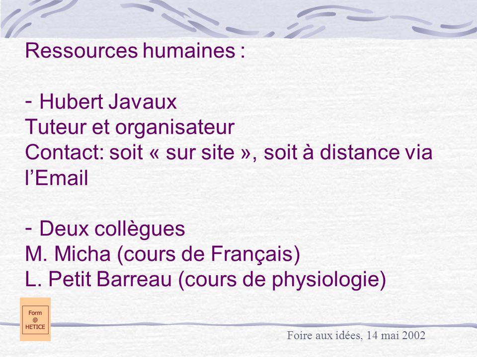 Ressources humaines : - Hubert Javaux Tuteur et organisateur Contact: soit « sur site », soit à distance via l'Email - Deux collègues M.