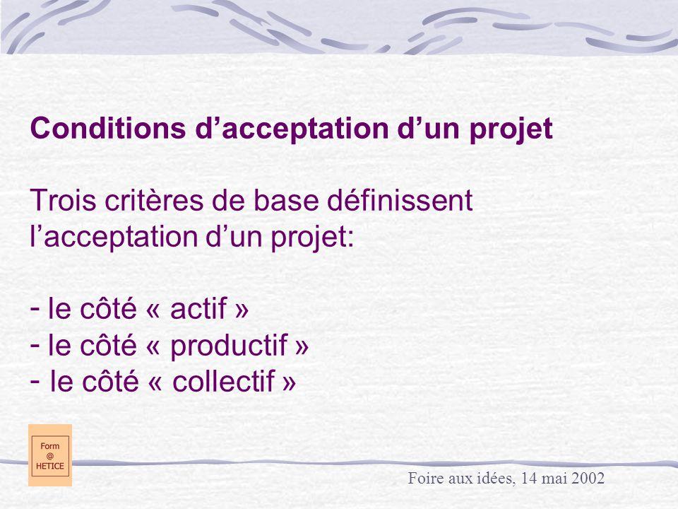 Conditions d'acceptation d'un projet Trois critères de base définissent l'acceptation d'un projet: - le côté « actif » - le côté « productif » - le côté « collectif » Foire aux idées, 14 mai 2002