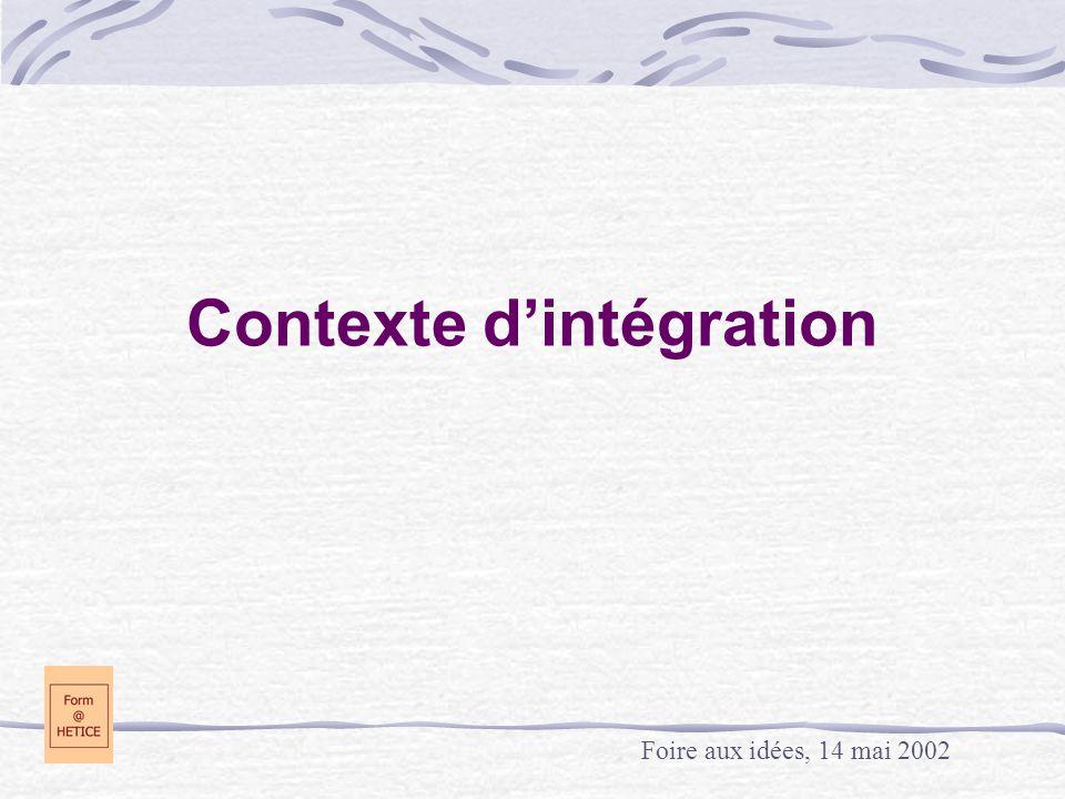 Contexte d'intégration Foire aux idées, 14 mai 2002