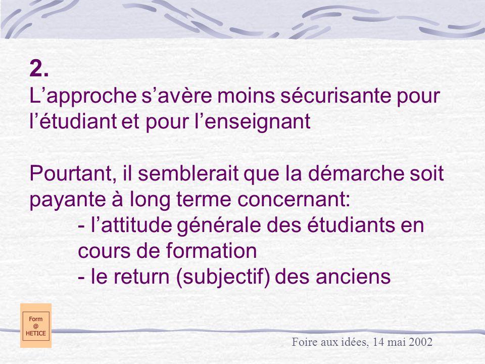 2. L'approche s'avère moins sécurisante pour l'étudiant et pour l'enseignant Pourtant, il semblerait que la démarche soit payante à long terme concern