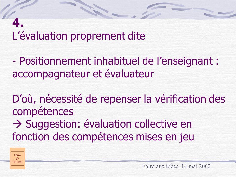 4. L'évaluation proprement dite - Positionnement inhabituel de l'enseignant : accompagnateur et évaluateur D'où, nécessité de repenser la vérification