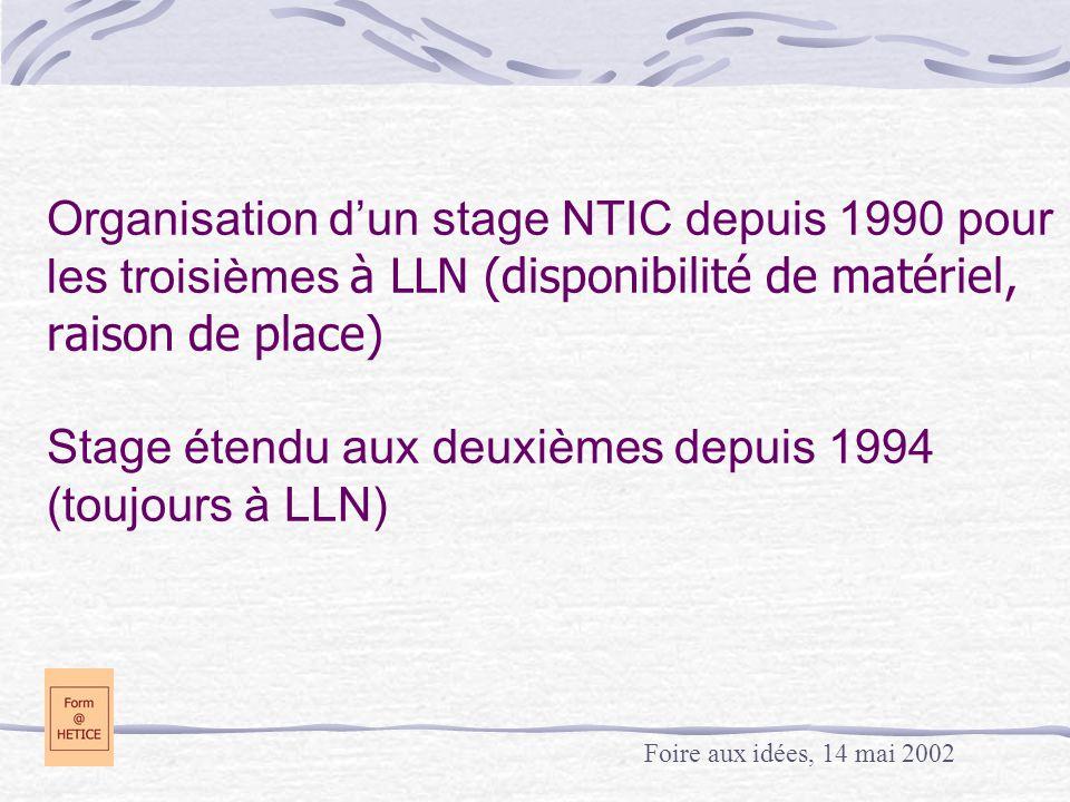 Organisation d'un stage NTIC depuis 1990 pour les troisièmes à LLN (disponibilité de matériel, raison de place) Stage étendu aux deuxièmes depuis 1994 (toujours à LLN) Foire aux idées, 14 mai 2002