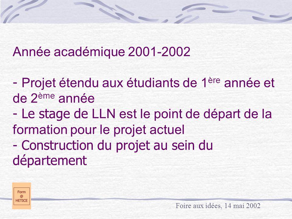 Année académique 2001-2002 - Projet étendu aux étudiants de 1 ère année et de 2 ème année - Le stage de LLN est le point de départ de la formation pour le projet actuel - Construction du projet au sein du département Foire aux idées, 14 mai 2002