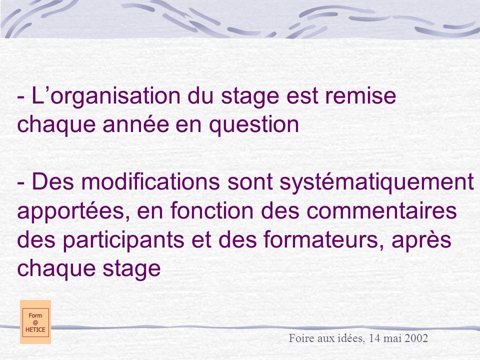 - L'organisation du stage est remise chaque année en question - Des modifications sont systématiquement apportées, en fonction des commentaires des participants et des formateurs, après chaque stage Foire aux idées, 14 mai 2002