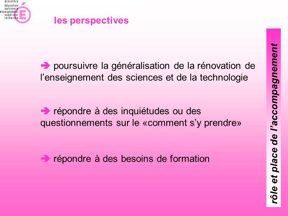  poursuivre la généralisation de la rénovation de l'enseignement des sciences et de la technologie  répondre à des inquiétudes ou des questionnement