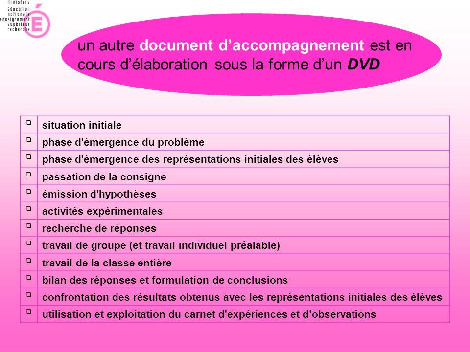 un autre document d'accompagnement est en cours d'élaboration sous la forme d'un DVD  situation initiale  phase d'émergence du problème  phase d'ém