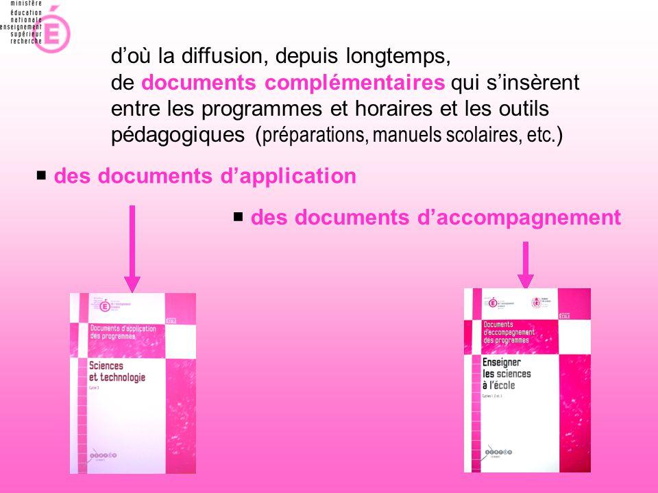  des documents d'application  des documents d'accompagnement d'où la diffusion, depuis longtemps, de documents complémentaires qui s'insèrent entre