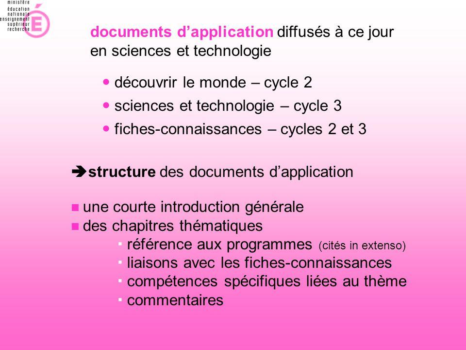documents d'application diffusés à ce jour en sciences et technologie  découvrir le monde – cycle 2  fiches-connaissances – cycles 2 et 3  sciences