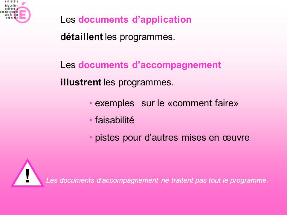 Les documents d'application détaillent les programmes. Les documents d'accompagnement illustrent les programmes. ! Les documents d'accompagnement ne t