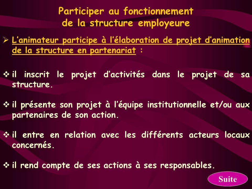 Participer aux actions de communication et de promotion de la structure employeure  Il formalise le projet d'animation en relation avec les différents partenaires sous forme écrite.